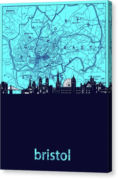 Bristol Canvas Print - Bristol Skyline Map Turquoise by Bekim M