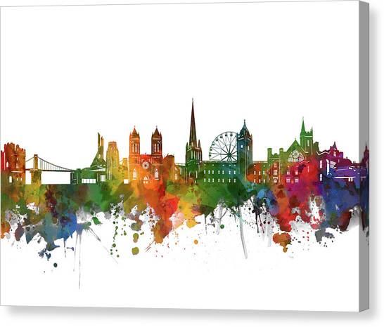 Bristol Canvas Print - Bristol Skyline Watercolor 2 by Bekim M