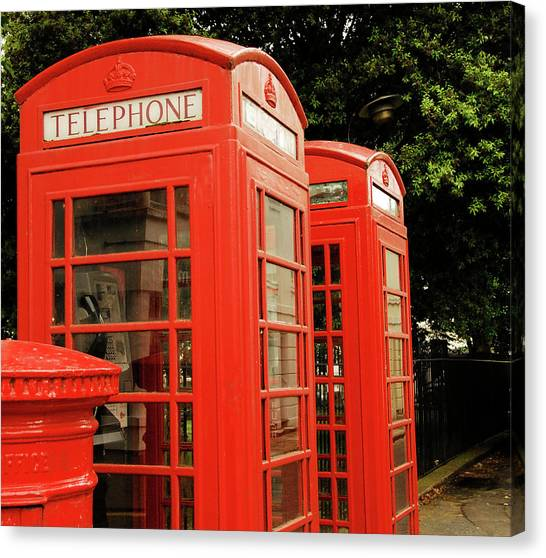 British Red Telephone Boxes And Post Box Canvas Print