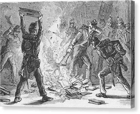 British Soldiers Burning Books In Canvas Print by Kean Collection