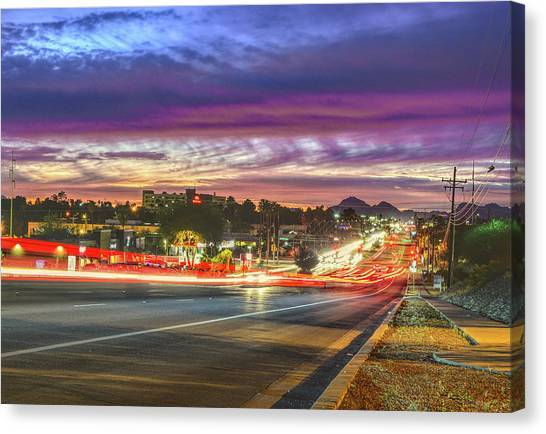 Canvas Print featuring the photograph Broadway Sunset, Tucson, Az by Chance Kafka