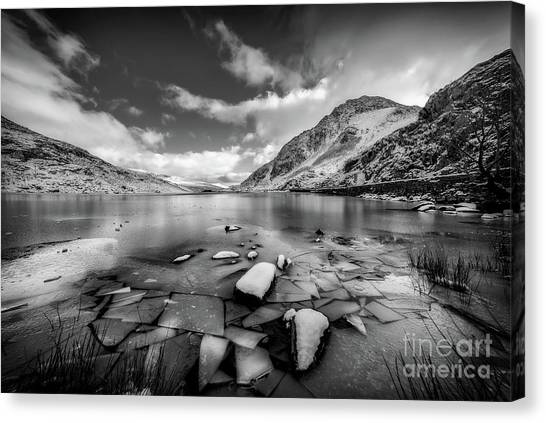 Tryfan Mountain Canvas Print - Lake Ice Snowdonia by Adrian Evans