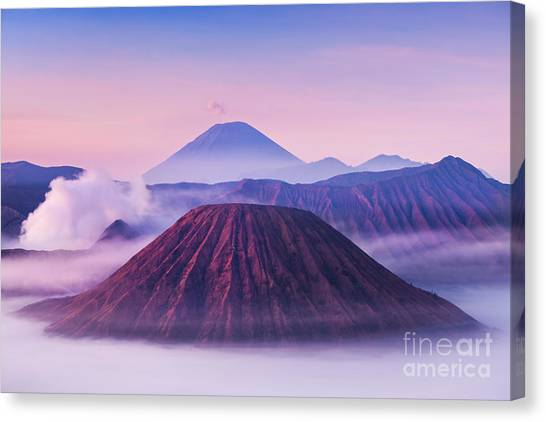 Mountain Climbing Canvas Print - Bromo, Batok And Semeru Volcanoes At by Saiko3p