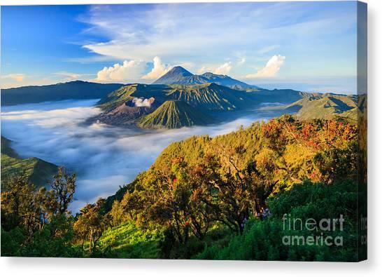 Mountain Climbing Canvas Print - Bromo Volcano At Sunrise,tengger Semeru by Lkunl