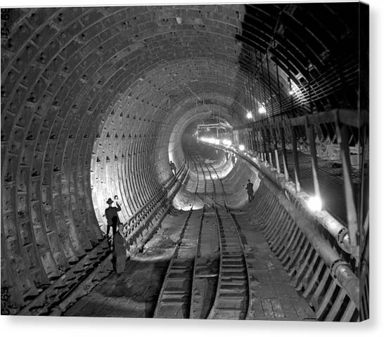 Brooklyn Battery Tunnel Under Canvas Print by New York Daily News Archive
