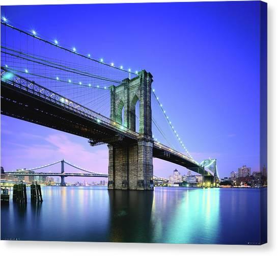 Brooklyn Bridge At Twilight, New York Canvas Print