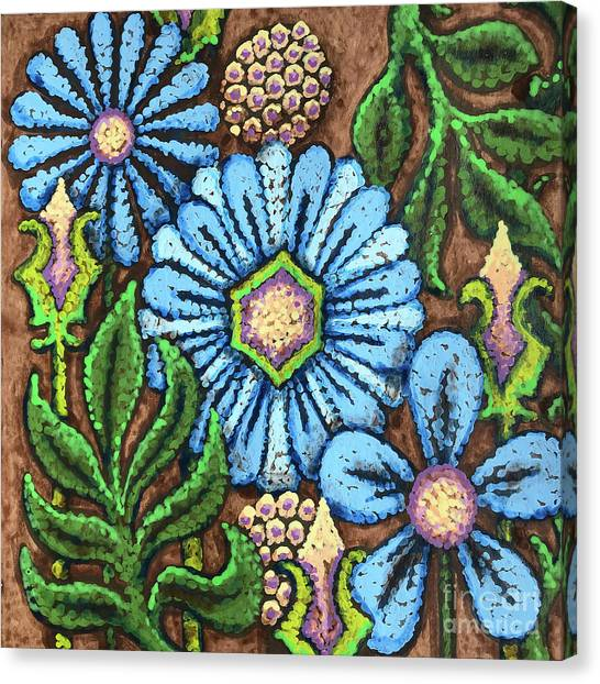 Brown And Blue Floral 1 Canvas Print