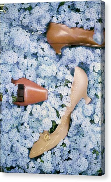 Brown Shoes In Bed Of Blue Flowers Canvas Print by Gordon Parks