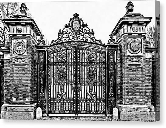 Brown University Canvas Print - Brown University Gate Graphic Novel Version by Edward Fielding