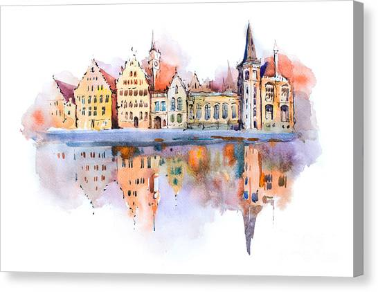 Famous Places Canvas Print - Bruges Cityscape Watercolor Drawing by Undrey