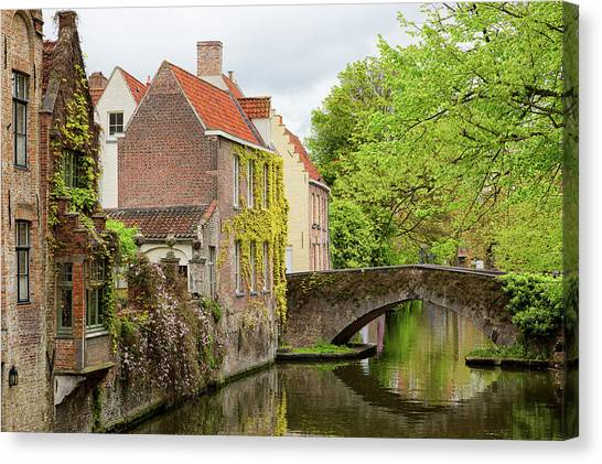 Canvas Print featuring the photograph Bruges Footbridge Over Canal by Nathan Bush