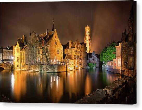 Canvas Print featuring the photograph Brugge Belgium Belfry Night by Nathan Bush