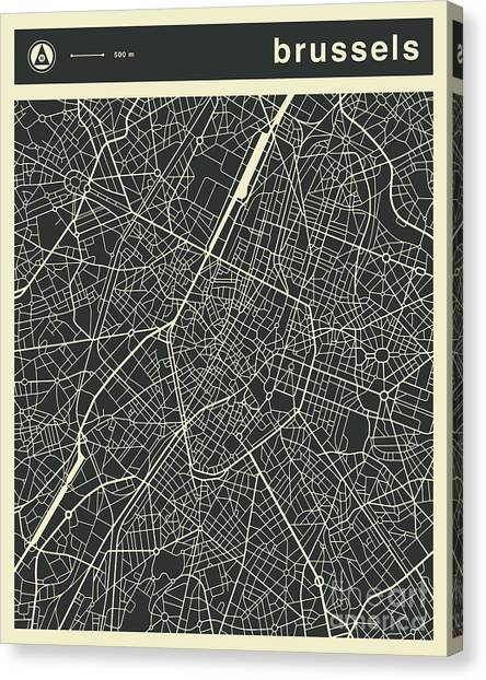 Belgium Canvas Print - Brussels Map 3 by Jazzberry Blue