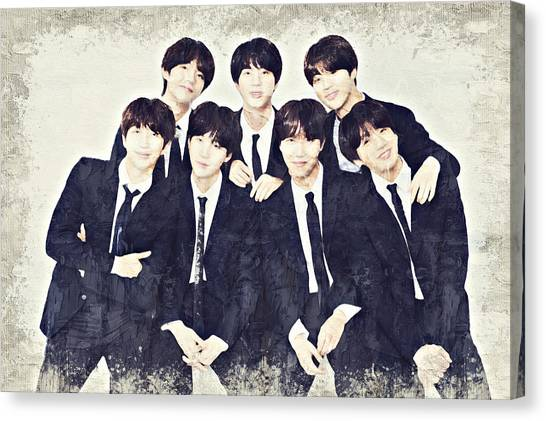 Suga Canvas Print - Bts Boy Band Oil Paint  by Boomba Stick