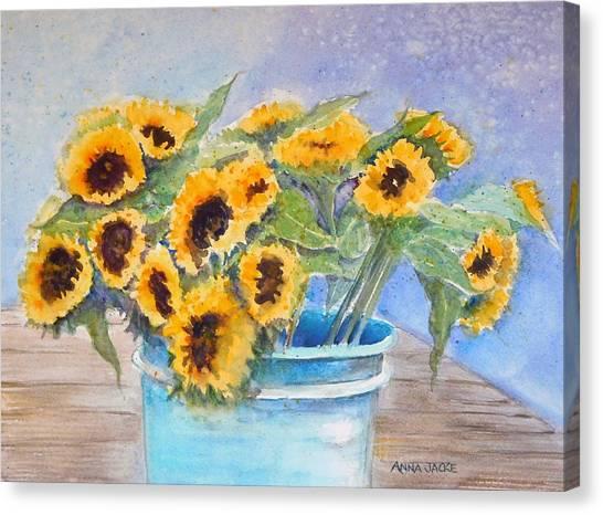 Bucket Of Sunflowers Canvas Print