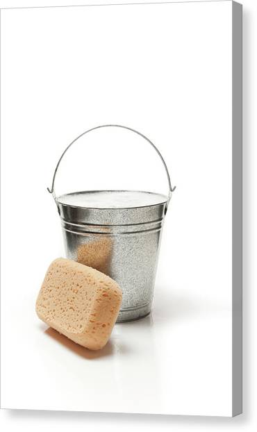 Bucket Of Water And Sponge For Cleaning Canvas Print