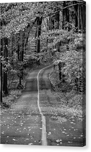 Canvas Print - Bucks County Road In Black And White by Bill Cannon