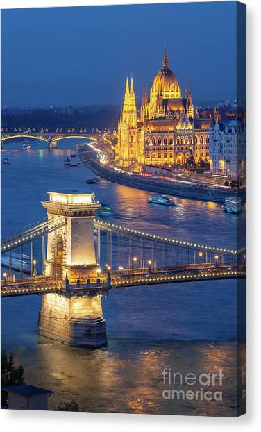 Danube Canvas Print - Budapest At Night by Delphimages Photo Creations