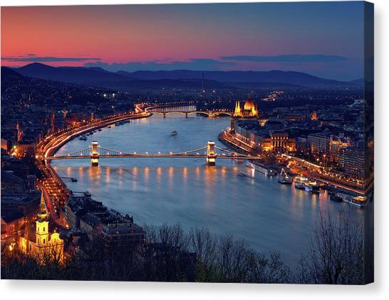 Parliament Hill Canvas Print - Budapest Cityscape At Dusk by Mammuth
