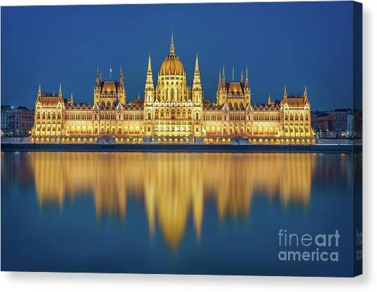 Danube Canvas Print - Budapest Parliament At Night by Delphimages Photo Creations