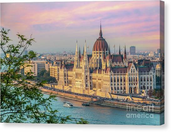 Danube Canvas Print - Budapest Parliament At Sunset by Delphimages Photo Creations