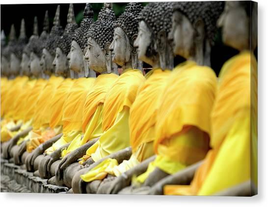 Buddha Statues, Ayuthaya, Thailand Canvas Print by Rod Porteous / Robertharding