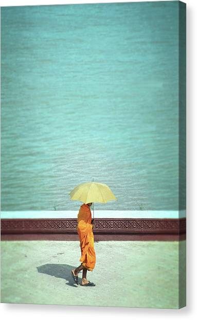 Buddhist Monk In Cambodia Canvas Print by Kelly Loughlin Photography