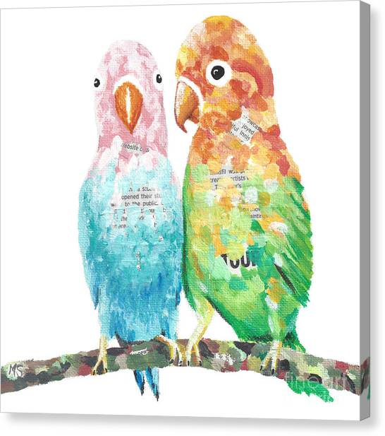 Budgies In Love Canvas Print