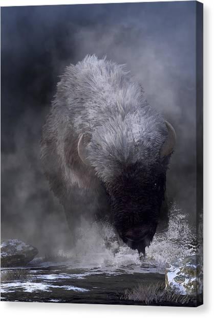 Canvas Print featuring the digital art Buffalo Charging Through Snow by Daniel Eskridge