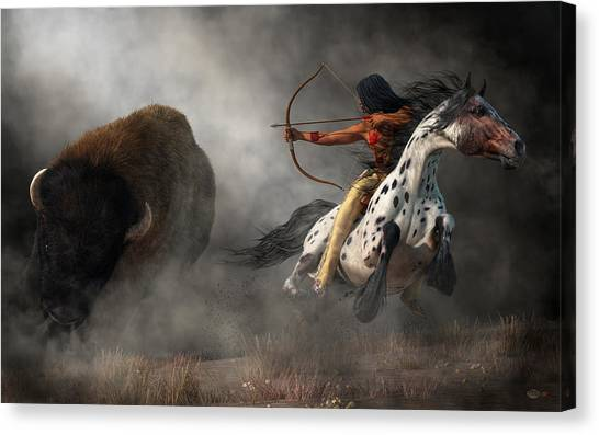 Canvas Print featuring the digital art Buffalo Hunt by Daniel Eskridge