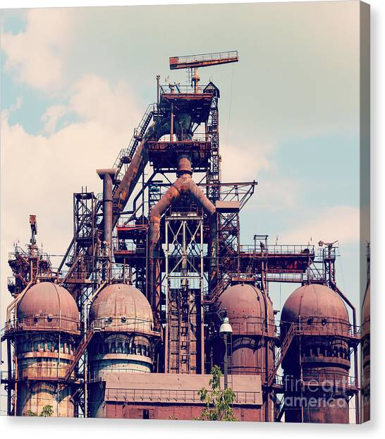 Oven Canvas Print - Building A Blast Furnace At The Steel by Mikhail Starodubov