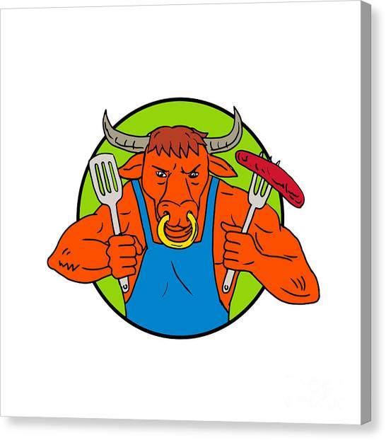 Cookout Canvas Print - Bull Holding Barbecue Sausage Drawing Color by Aloysius Patrimonio