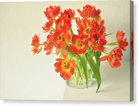 Vase Of Flowers Canvas Print - Bunch Of Dutch Tulips by Photo By Ira Heuvelman-dobrolyubova