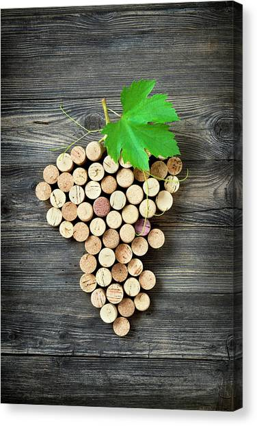 Bunch Of Grapes Shape Made With Corks Canvas Print