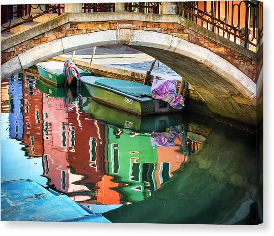 Burano Bridge Reflections Canvas Print