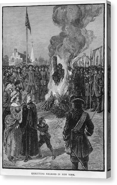 Burning Slaves At The Stake Canvas Print by Kean Collection