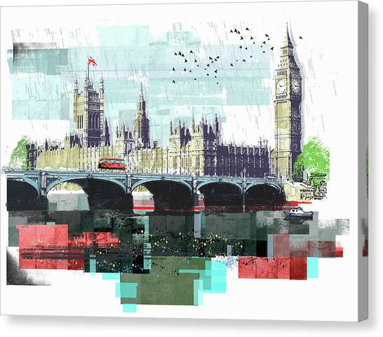 Bus Crossing Westminster Bridge By Canvas Print by Sarah Jones