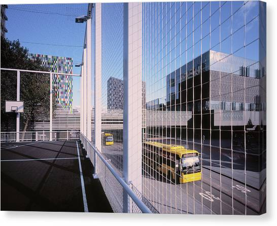 Bus Passing Elevated Basketball Court Canvas Print