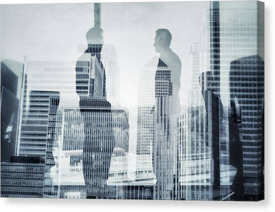 Business In The City Canvas Print by Xavierarnau