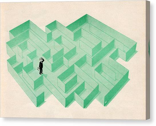 Businessman Trapped In Maze Canvas Print by Graphicaartis