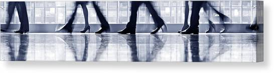 Businesspeople Walking In Lobby, Low Canvas Print