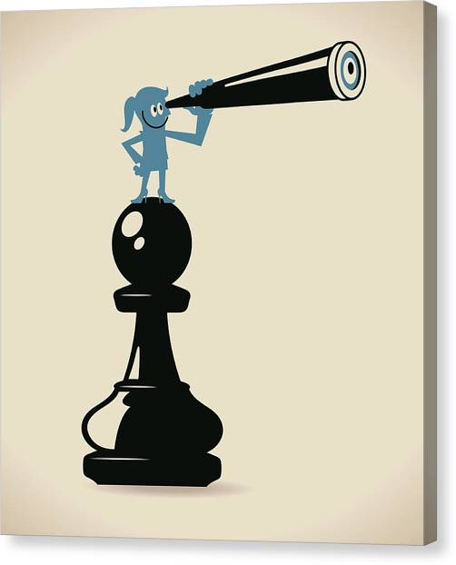 Businesswoman Standing On A Pawn Chess Canvas Print by Alashi