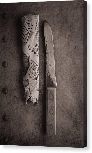 Utensil Canvas Print - Butcher Knife And Sheath by Tom Mc Nemar