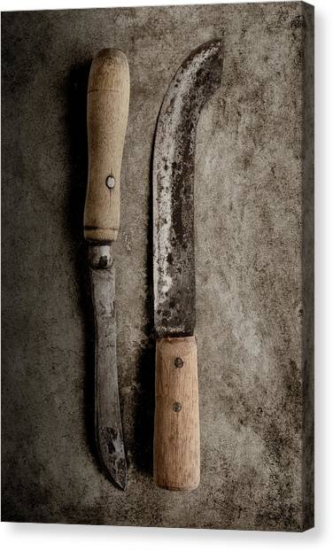 Utensil Canvas Print - Butcher Knives by Tom Mc Nemar