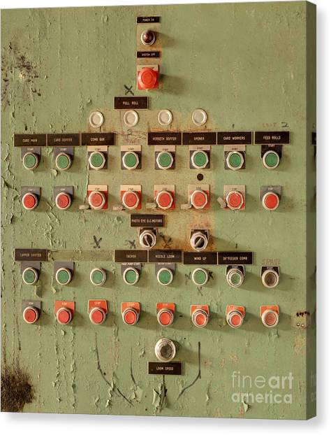 Empty Canvas Print - Buttons At An Old Abaonded Textile Mill by Sean Pavone