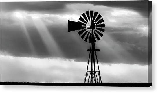 Canvas Print featuring the photograph Bw Windmill And Crepuscular Rays -01 by Rob Graham