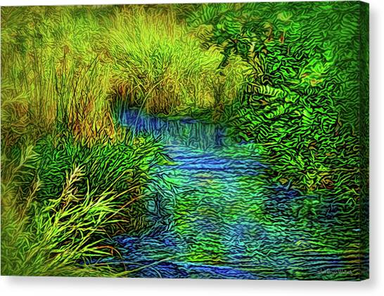 Canvas Print featuring the digital art By A Gentle Stream by Joel Bruce Wallach