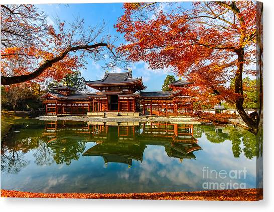 Japanese Gardens Canvas Print - Byodo-in Temple. Kyoto,buddhist Temple by Somsak Nitimongkolchai