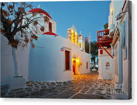 Church Canvas Print - Byzantine Church In A Street Of Mykonos by Milan Gonda