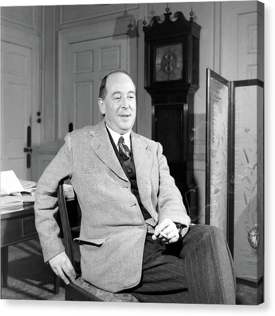 C. S. Lewis In His Study In Oxford Canvas Print